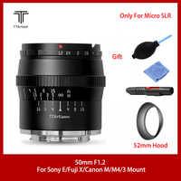 TTArtisan-lente de APS-C f1.2 de 50mm para cámara SONEY E, FUJI X, CANON M43, gran apertura