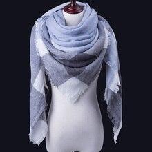 Новинка, зимний женский шарф, клетчатый теплый кашемировый шарф, шали, женский роскошный брендовый женский шарф, зимний шарф, Дамское одеяло