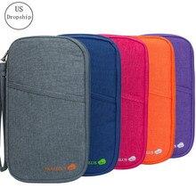 Organizador para viagem porta-passaporte, porta-cartão, carteira, embalagem multi-bolsos