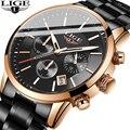 2019 часы мужские люксовый бренд LIGE Бизнес Мужские часы со светящейся датой водонепроницаемые полностью Стальные кварцевые часы Relogio Masculino