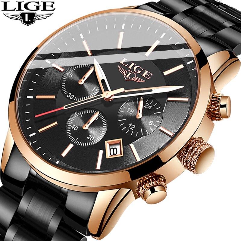 2019 Watches Men Luxury Brand LIGE Business Men's Watch With Luminous Date Waterproof Full Steel Quartz Clock Relogio Masculino