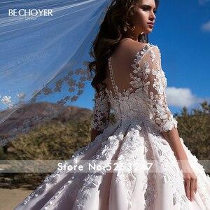 Image 5 - Bechoyer Sweetheart Applicaties Wedding Dress Charmant 3D Bloemen A lijn Roze Prinses K192 Vestido De Noiva Aangepaste Bruid Gown