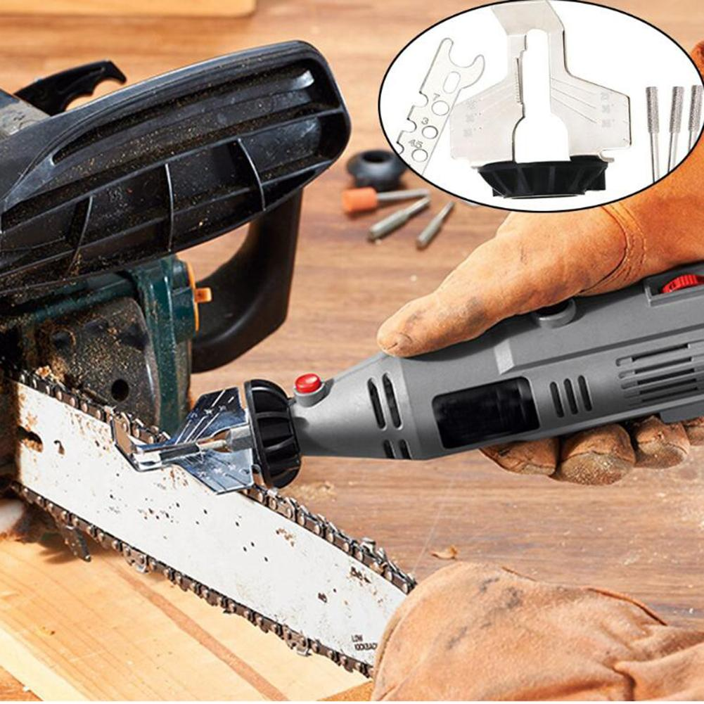 70mm Chainsaw Sharpening Attachment High Speed Steel Polishing Head + Ruler Electric Grinder Accessory Kit Chain Saw Sharpener