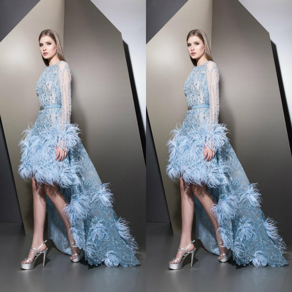 2020 Feather Prom Dresses Lace Appliqued High Low Beaded Long Sleeves Evening Gowns Vestido Longo Abendkleider