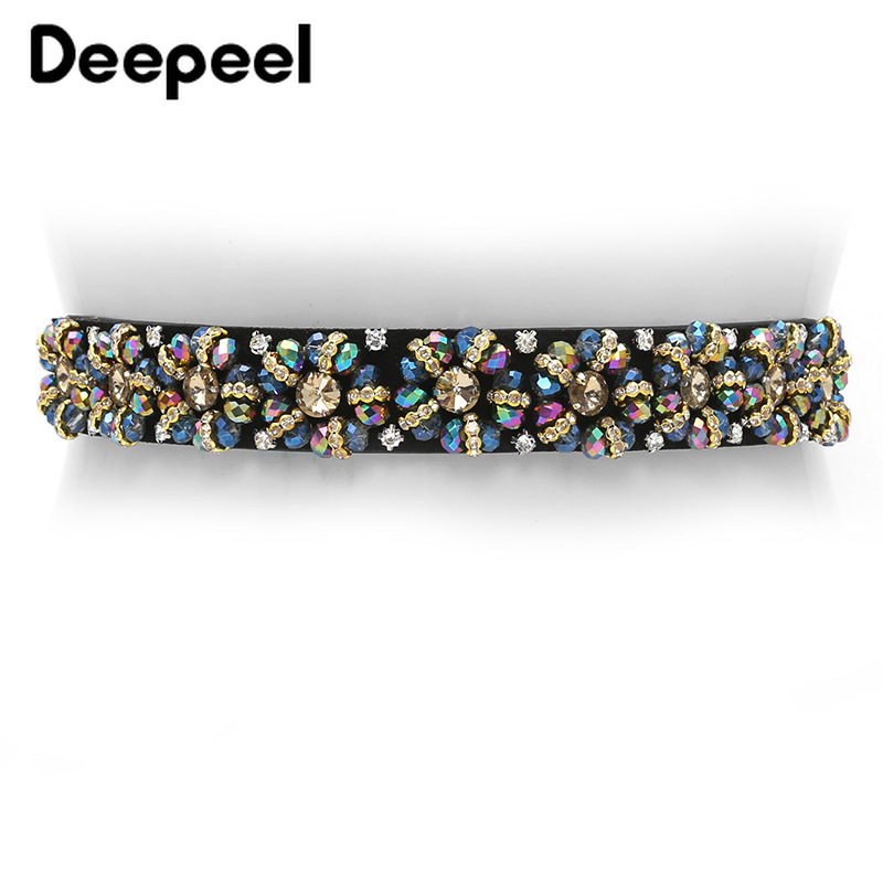 Deepeel 3cm*65-85cm Handmade Rhinestone Decorative Cummerbunds  Waist Elastic Stretch Accessories Luxury Women's Belt  YK615
