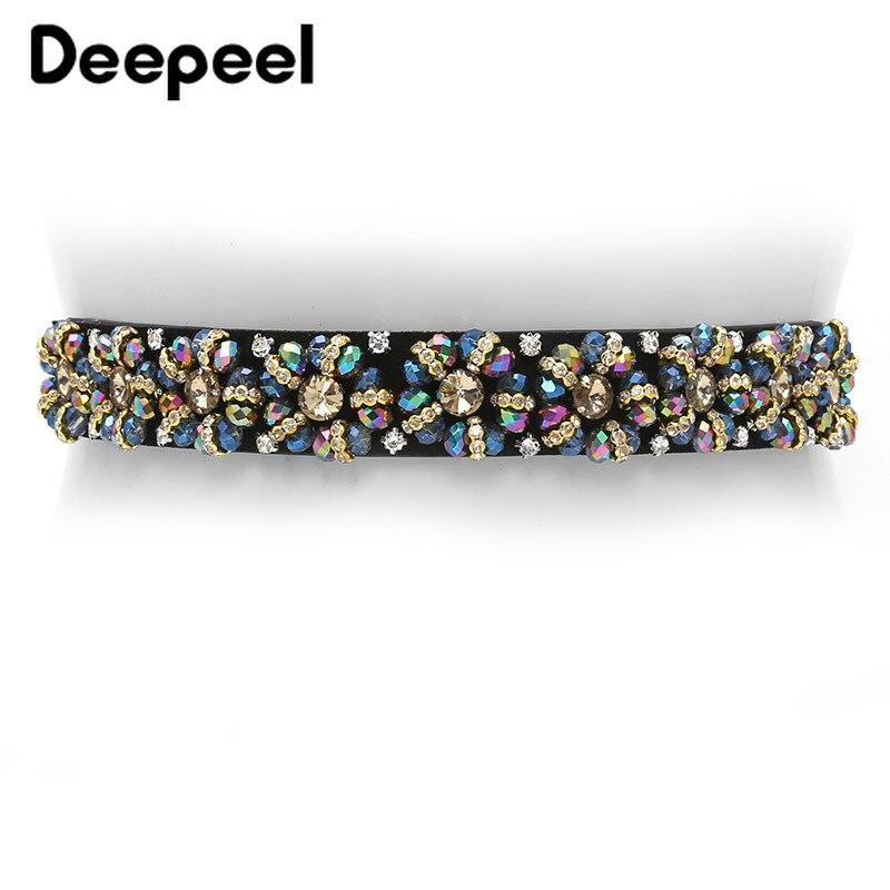 Deepeel 3cm*65-85cm Handmade Rhinestone Decorative Cummerbunds  Waist Elastic Stretch Accessories Luxury Women's Belt  YK615