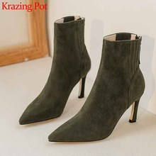 Krazing Pot soft genuine leather pointed toe stiletto high heels office lady fashion solid Zip winter keep warm ankle boots L73