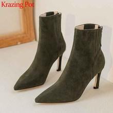 Krazing pot macio couro genuíno apontado dedo do pé stiletto salto alto senhora do escritório moda sólido zip inverno manter quente tornozelo botas l73