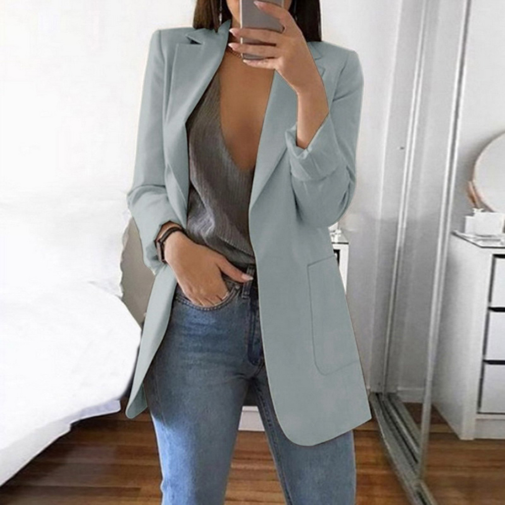 Cardigan Blazer Jacket Long-Sleeve Women Ladies Suit Office Open-Front Casual Outwear