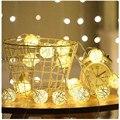 Ротанговые шарики с 10/20/40/80 светодиодами, гирлянда на батарейках, хлопковый шаровой светильник, Праздничный Рождественский светильник s для ...