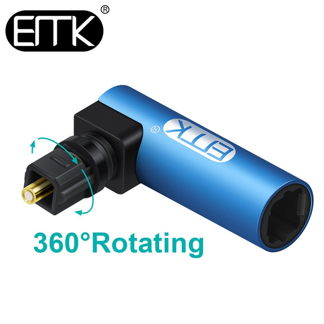 EMK 90 Degree Optical Audio Cable Adapter Right Angle Digital SPDIF Toslink Optical Connector 360 rotating Swivel For Soundbox