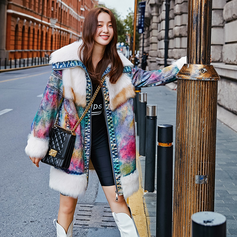 Natural Fur Coat Women 100% Real Sheep Fur Jacket Spliced Winter Coat Women Clothes 2020 Double Faced Wool Coat S19-032SH YY1789