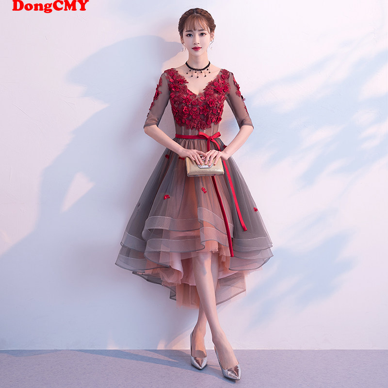 DongCMY New 2020 Flower Bridesmaid Dresses Burgundy Color V-Neck Elegant Pear Party Bride Dress