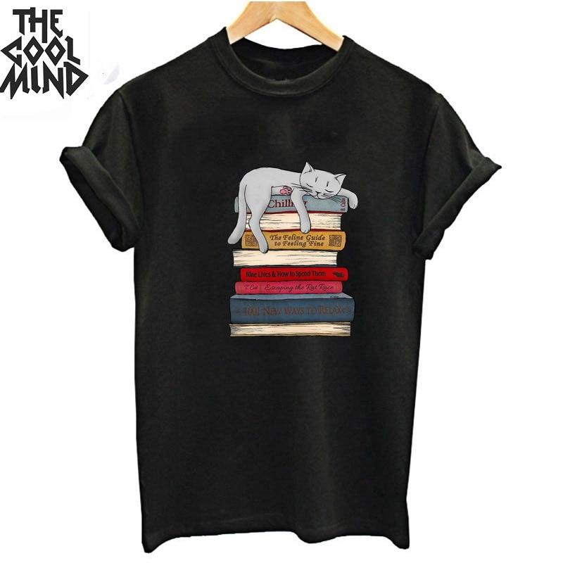 Coolmind 100% Cotton Summer Lovely Cat Print Women T Shirt Casual Loose Women Tshirt O-neck T-shirt Mens Tee Shirt Tops