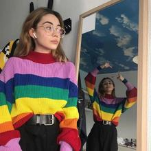 Autumn Casual Loose Stripe Sweater Turtleneck Rainbow Pullovers Long Sleeve Knitted Sweater недорого