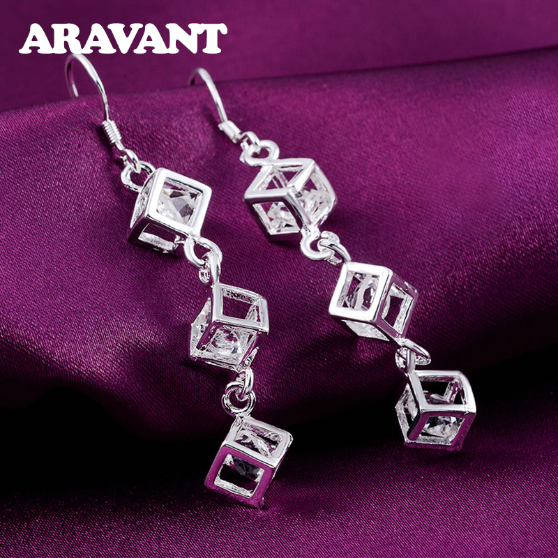 925 Silver Square Earrings For Women Cubic Zirconia Long Earing Femme Pendientes Fashion Jewelry Accessories Bijoux