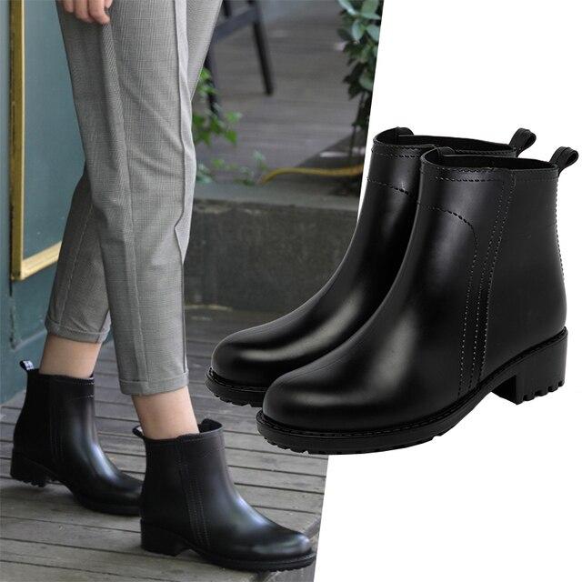 Damlama kadın kısa çizmeler su geçirmez kaymaz moda yağmur ayakkabıları kadın ayak bileği Chelsea yağmur çizmeleri ayakkabı kadın