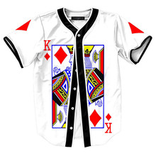3D Print Poker K King Streetwear T shirt Men Hipster Hip Hop Baseball Jersey Tshirt Button Short Sleeve White Cardigan T-shirts aifeiyiyi new cheap bruno mars 24k hooligans white pinstriped baseball jersey bet awards button down stitched mens shirts