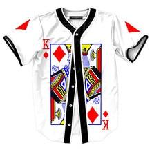 3D Print Poker K King Streetwear T shirt Men Hipster Hip Hop Baseball Jersey Tshirt Button Short Sleeve White Cardigan T-shirts short sleeve button up lion print baseball jersey