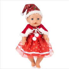 Baby New Born Fit 18 inch 43cm Doll Clothes Accessories Red Christmas Plush 3-piece Yarn Skirt For Baby Birthday Festival Gift born new baby doll clothes fit 18 inch 43cm doll down dress yarn skirt flamingo watermelon accessories for baby birthday gift
