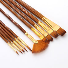 Kit de pinceaux à peinture avec poils en Nylon pour peinture acrylique, pinceaux d'artiste, supports multiples, 10 pièces