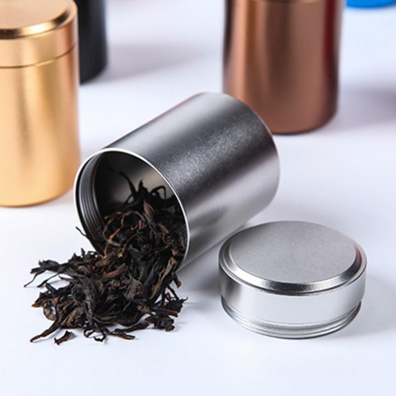 קופסא תה מיני תה ארגונית אחסון עלים מיכל קפה אטום אבקת פחיות קופסות נסיעות אלומיניום Caddy נייד