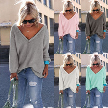 Women's Loose Knitted Pullover Jumper Sweater V Neck Long Sleeve Knitwear Tops burgundy v neck long sleeves causal loose jumper