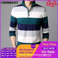 COODRONY Long Sleeve T Shirt Men Striped Casual Streetwear Tshirt Soft Cotton Tee Shirt Homme Turn down Collar T Shirt Men 95012