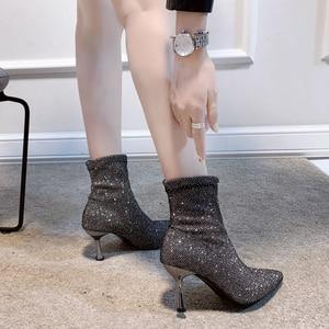 Image 5 - גרב מגפי בלינג נשים גבוהה עקב נעלי קרסול אופנה 2019 אישה נעלי נצנצים דק עקבים גבירותיי מסיבת חתונת נעליים חורף