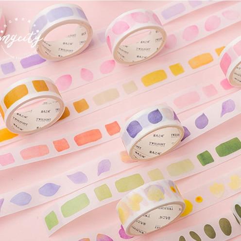 Watercolor Plants Kawaii Washi Tape Diy Decoration Scrapbooking Planner Masking Tape Adhesive Tape Label Sticker