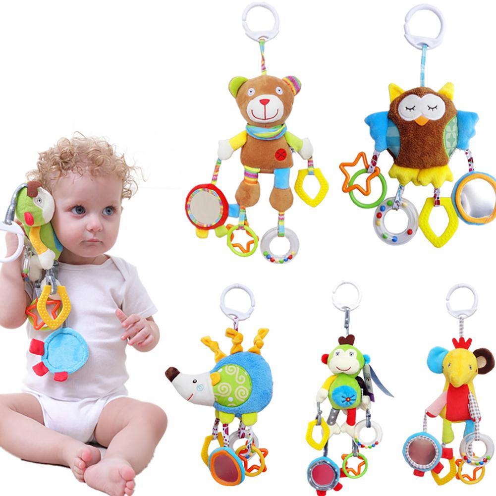 Born Baby Crib Hanging Cartoon Animal Plush Doll Hand Bell Infant Rattle New
