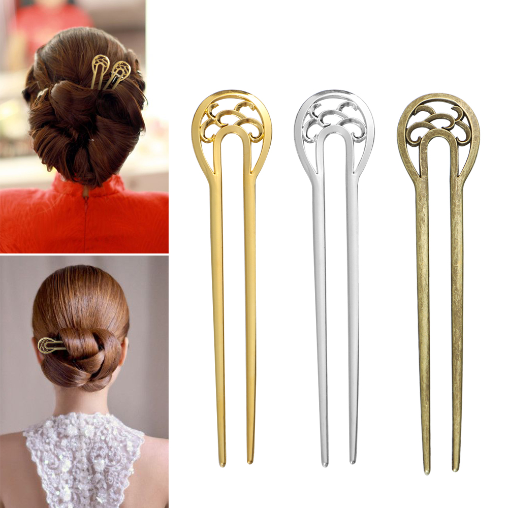 Fashion Metal Retro Style Hair Stick U-shaped Alloy Hairpin Double Wavy Flower Hairpin Hair Accessories Styling Tools