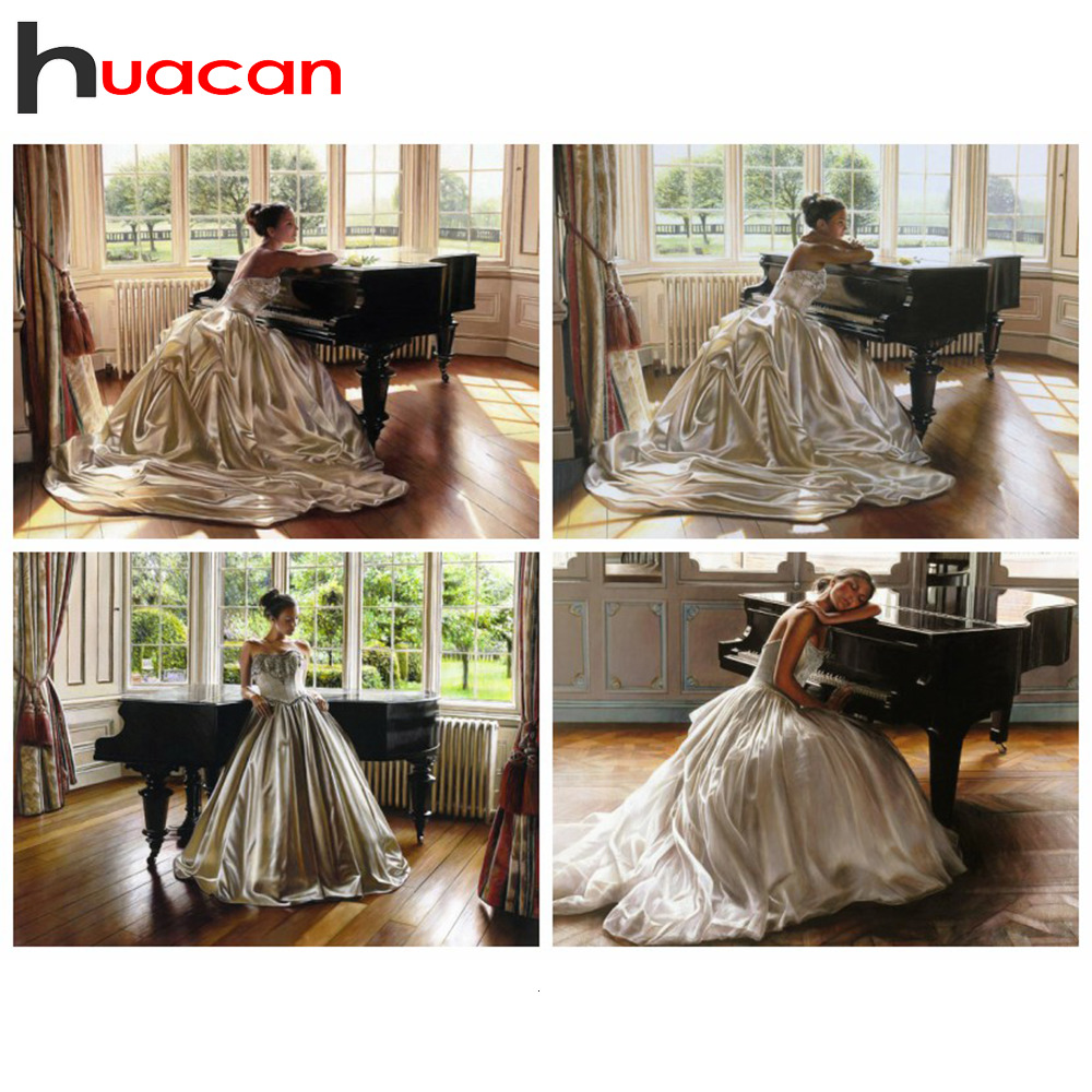 Huacan Diamond Painting New Arrivals 5d Beauty Decor For Home Mosaic Girl Embroidery Full Display Piano Handmade Gift
