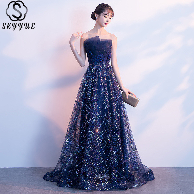 Skyyue Prom Dresses Sleeveless V-Neck Dresses Women Party Night A-Line Floor-Length Sequined Crystal Vestidos De Gala H194