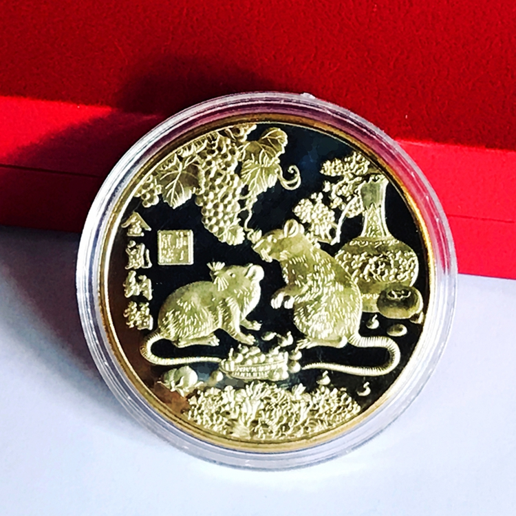 New 2020 Year of the Rat Commemorative Coin Chinese Zodiac Souvenir Challenge Collectible Coins Art Craft Gift
