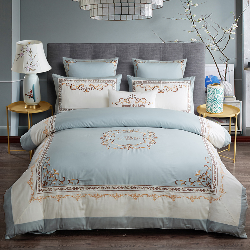 Luxury Egyptian Cotton Chic Crown Embroidery Duvet Cover Set Blue White Patchwork Queen King Size Bedding Set Bed Sheet Set