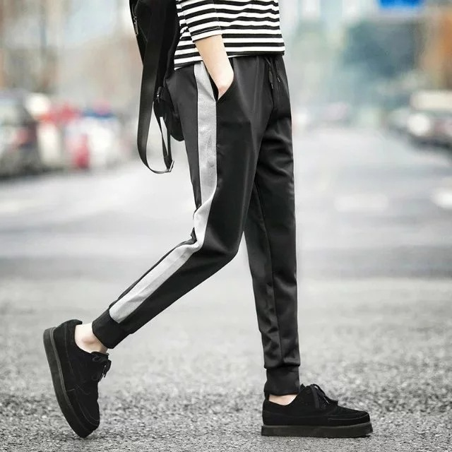 Korean-style Uniform Pants Thin Ankle Banded Pants Legs Casual Pants Students Men's Loose-Fit Skinny Sports Harem Trousers