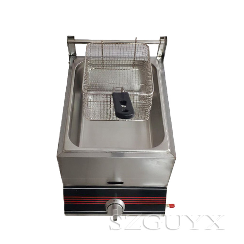 Single Cylinder Fryer Commercial Stainless Steel Gas Fried Multi-function Oven French Fries Fried Chicken Deep Fryer