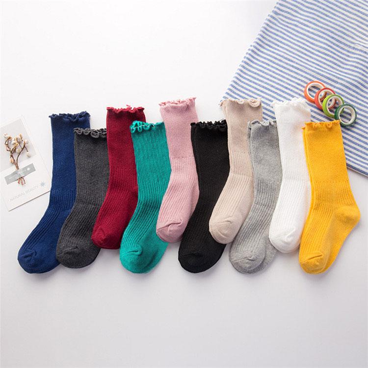 Solid Knee Socks For Girls Striped Kids Long Socks Winter Warm Children's Socks For Boys Suitable For 1 2 3 4 5 6 7 8 9 10 Years