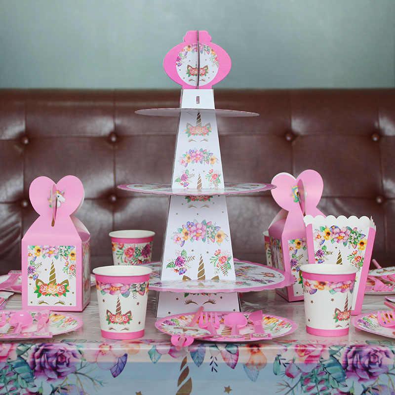Pesta Ulang Tahun Dekorasi Pelangi Unicorn 3-Tier Kertas Kue Berdiri Baby Shower Unicornio Pesta Piring Kertas Cup Balon Perlengkapan