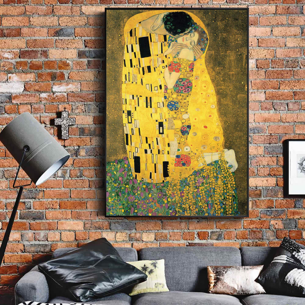 Gustav Klimt Kiss Famous Canvas Paintings Reproductions On The Wall Classical Portrait Wall Poster For Living Room Cuadros Decor