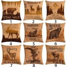 45x45cm Vintage marrón Animal funda de cojín decorativo algodón Lino oso Elk funda de almohada decoración para el hogar águila funda de almohada
