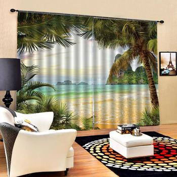 seaside Landscape Scenery beach curtains Photo Printing Blackout 3D Curtains for Living Room Bedding Room Hotel Drapes Cortinas