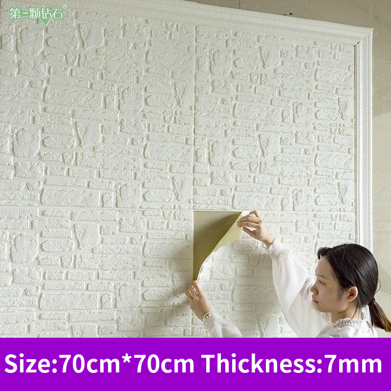 Diy stone tile sticker 3D wallpaper self adhesive Foam Wall sticker decor TV background wall home bedroom decor PE foam brick