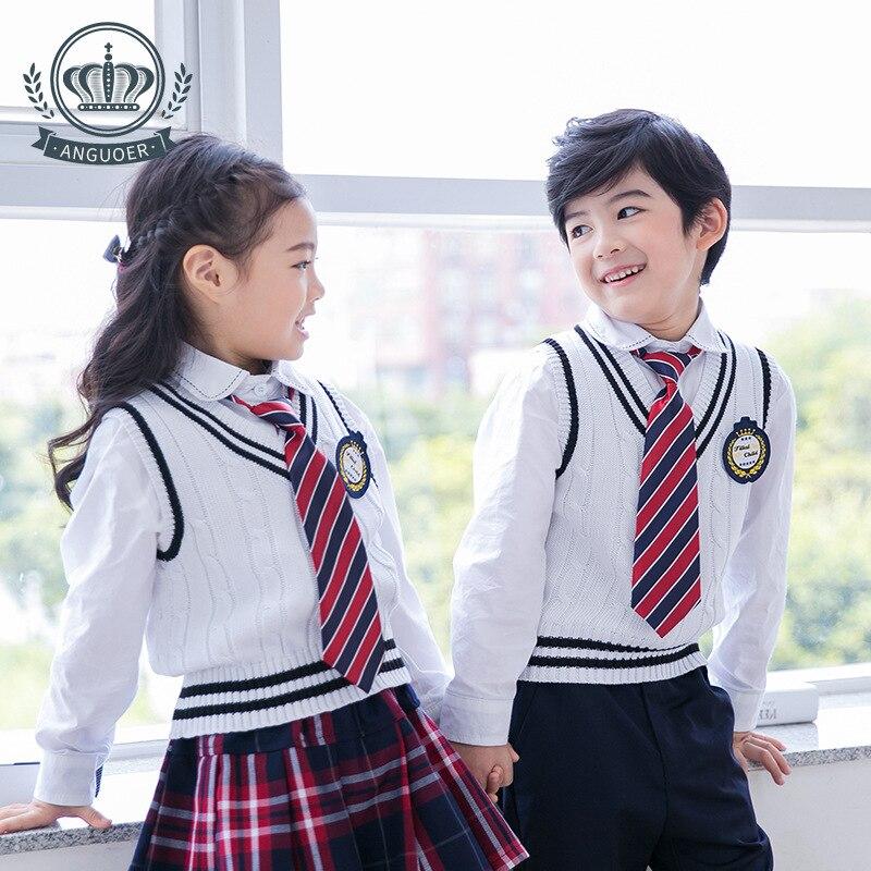 Childrenswear 2017 New Style Men And Women Children Vest Sweater Primary School STUDENT'S School Uniform White Kindergarten Suit