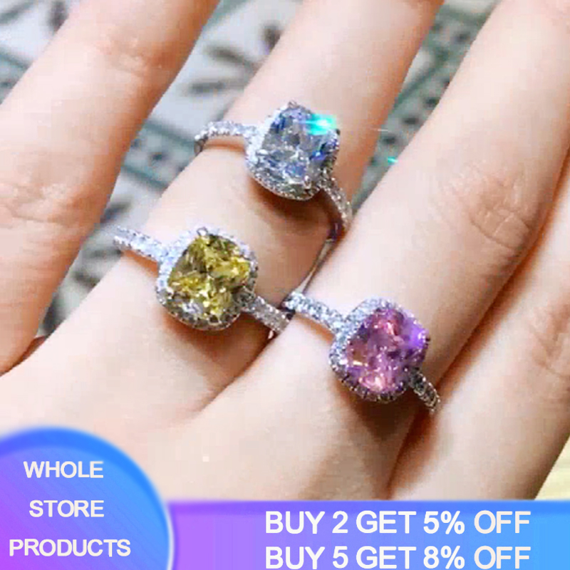 Fashion 100% 925 Sterling Silver Sapphire Colorful Gemstone Wedding Engagement Rings for Women Fine Jewelry Gift Wholesale