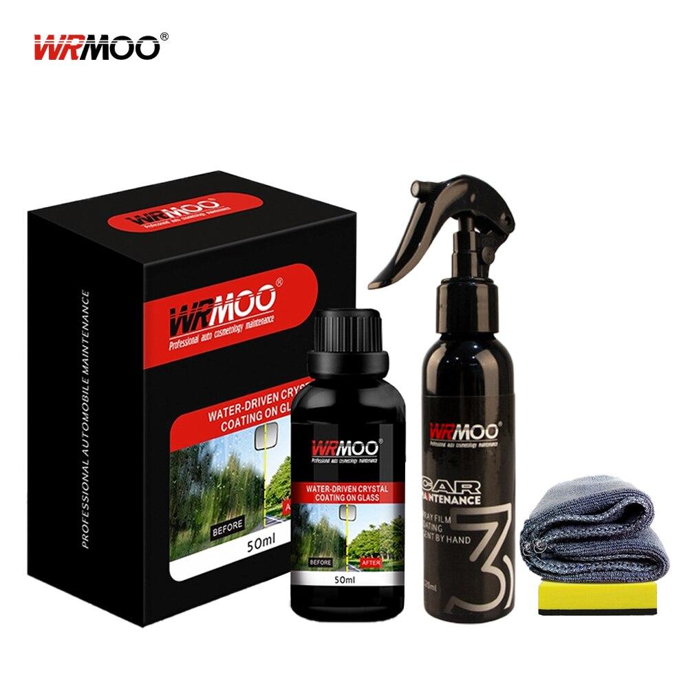 2Pcs Rainproof Car Crystal Glass Coating Anti Fog Rearview Mirror Protective Film Paint Windshield Waterproof Cleaner Kit