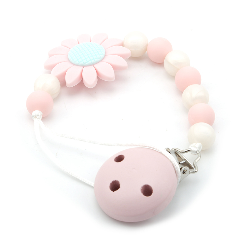 Cute Baby Silicone Teething Dummy Pacifier Clip Bead Infant Soother Nipple Strap Chain Newborn Feeding Teether Holder