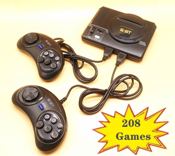 2019 New Retro Mini TV Video Game Console For Sega MegaDrive 16 Bit Games with 208 Different Built-in Games Two Gamepads AV Out(China)