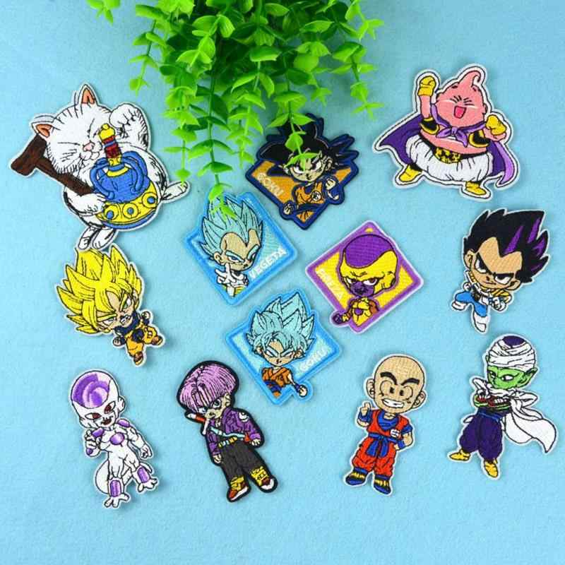 12 Pcs/set Hot Sale Anime Dragon Ball Goku Patch Besi Di Bordir Pakaian Patch untuk Pakaian Stiker Pakaian